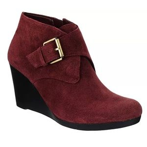 isaac mizrahi live! suede ankle booties